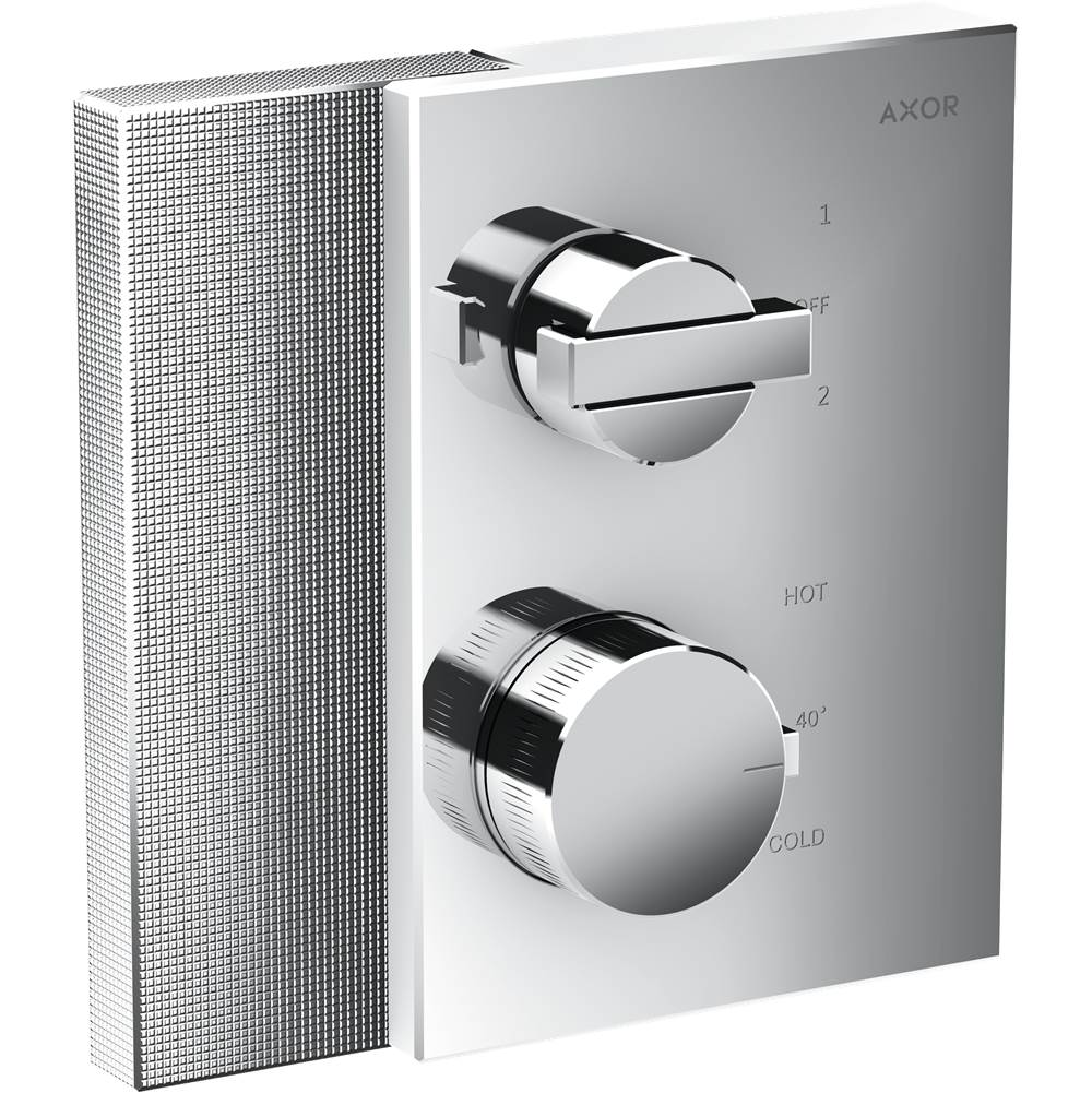 Axor AXOR Edge Thermostatic Trim with Volume Control and Diverter - Diamond Cut in Chrome