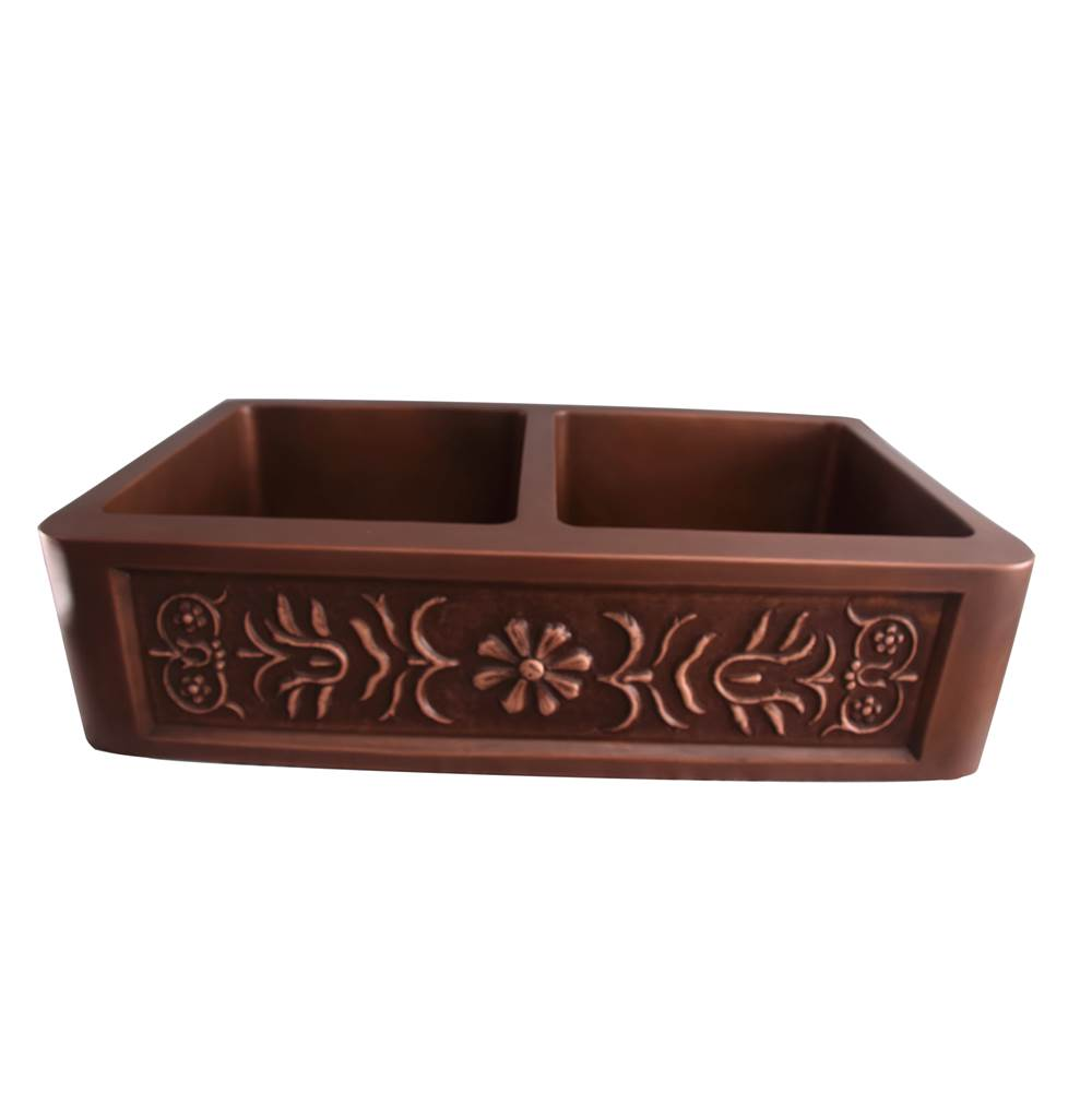 Barclay Sicily 36'' Embossed Dbl Bwl Copper Farmer Sink-SAC