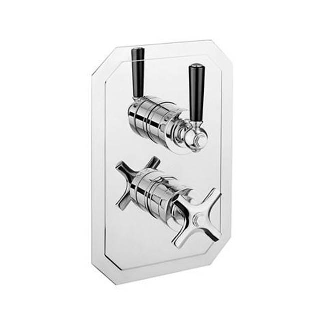 Crosswater London Waldorf 1000 Thermostatic Valve Trim with Single Integrated Volume Control and Black Lever Handles