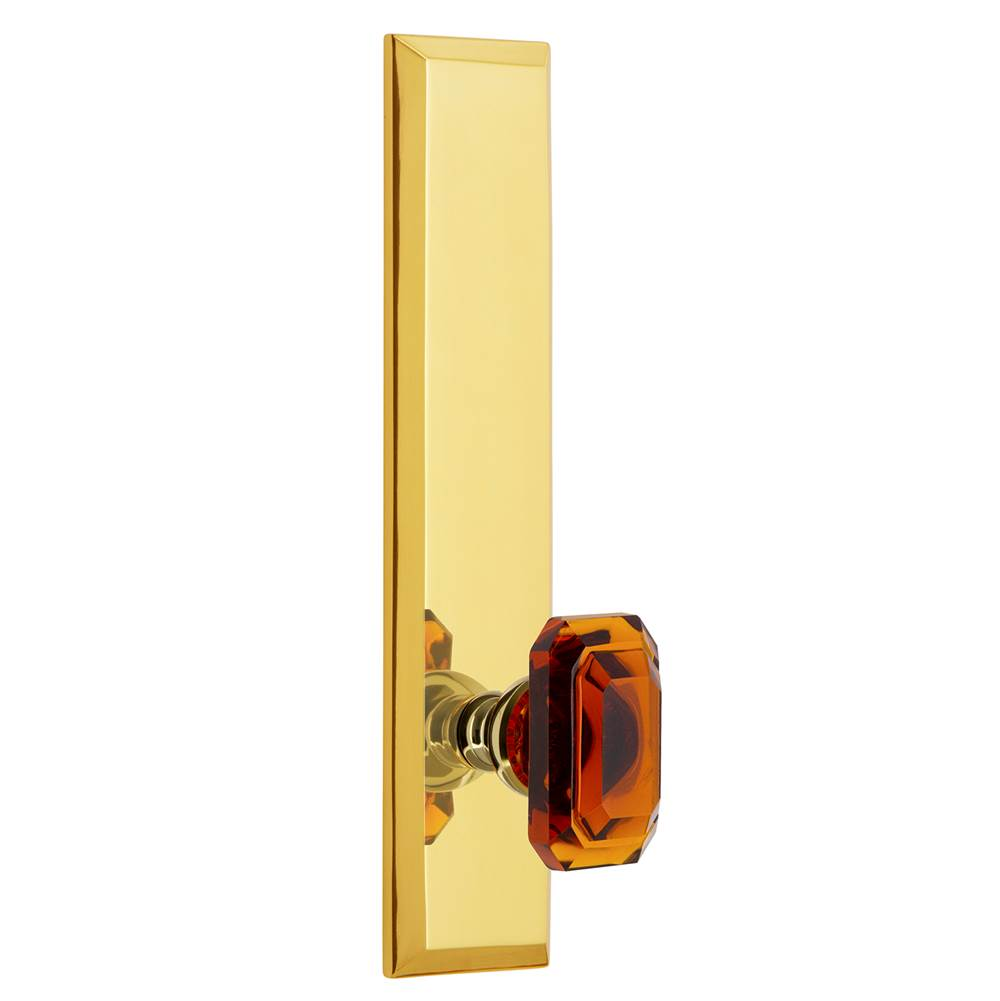 Grandeur Hardware Grandeur Hardware Fifth Avenue Tall Plate Passage with Baguette Amber Knob in Polished Brass