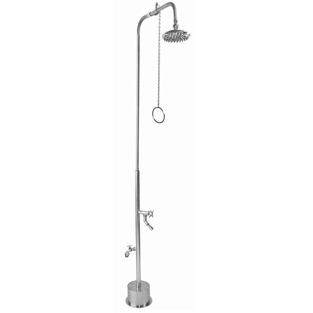 Outdoor Shower Free Standing Single Supply Shower - Pull Chain Valve, 8'' Shower Head, Hose Bibb, Cross Handle Foot Shower