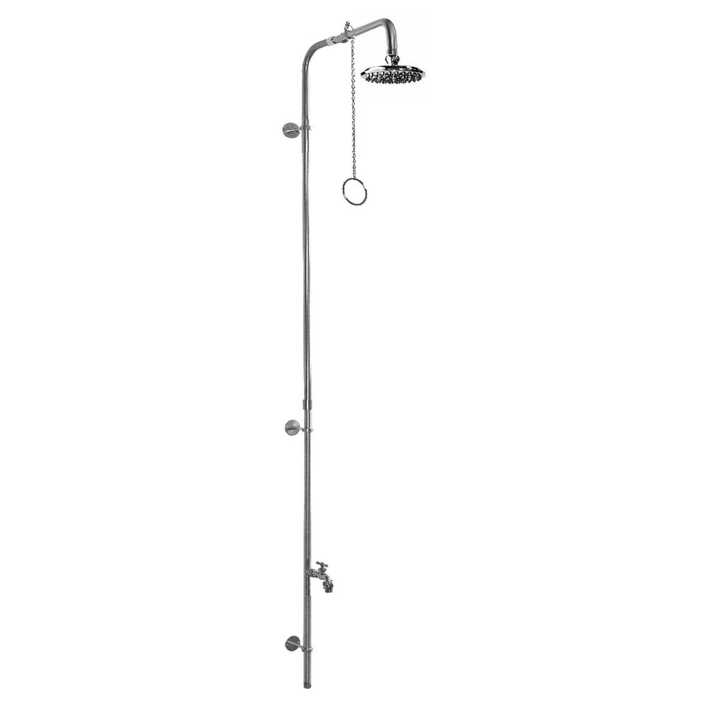 Outdoor Shower Wall Mount Single Supply Shower - Pull Chain Valve, 8'' Shower Head, Hose Bibb