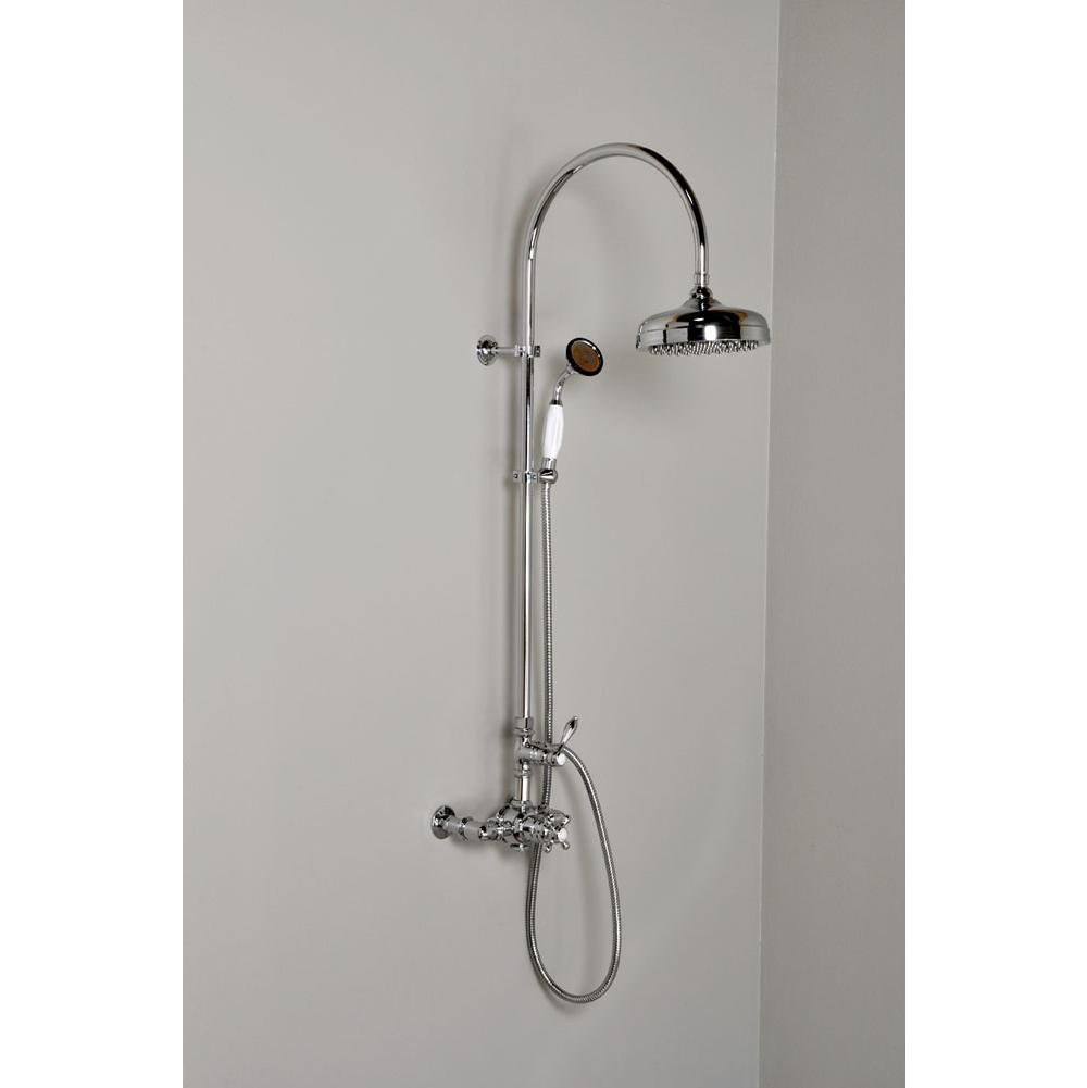 Strom Living Chrome Water Saving  Exposed Thermostatic 7'' Center Shower Unit W/ Multi Functio