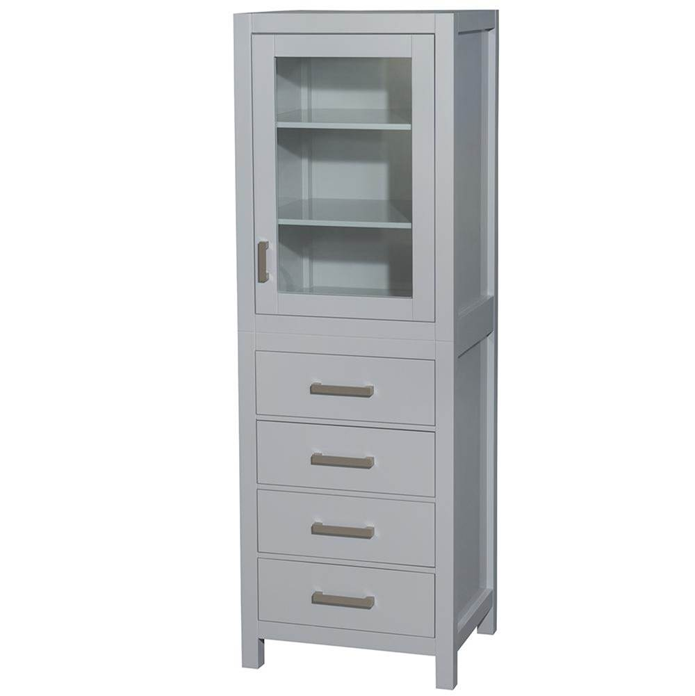 Wyndham Collection 24 inch Linen Tower in Gray with Shelved Cabinet Storage and 4 Drawers