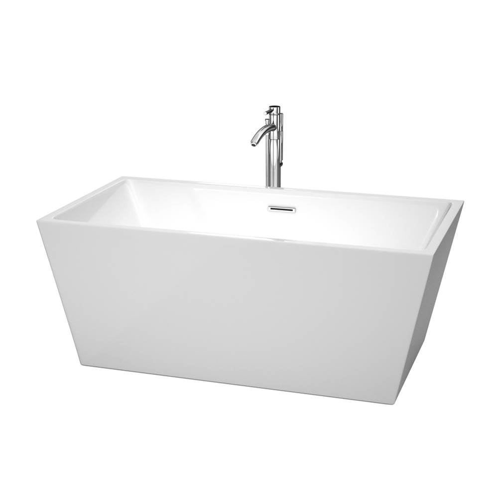Wyndham Collection 59 inch Freestanding Bathtub in White with Floor Mounted Faucet, Drain and Overflow Trim in Polished Chrome