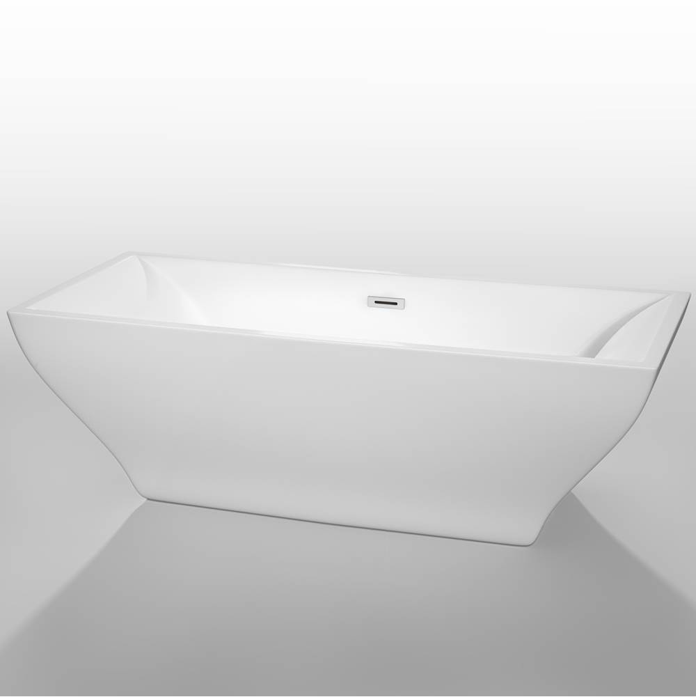 Wyndham Collection 71 inch Freestanding Bathtub in White with Polished Chrome Drain and Overflow Trim