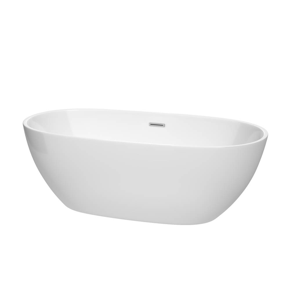 Wyndham Collection 67 inch Freestanding Bathtub in White with Polished Chrome Drain and Overflow Trim
