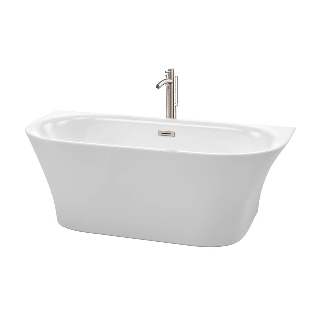 Wyndham Collection 67 Inch Freestanding Bathtub in White with Floor Mounted Faucet, Drain and Overflow Trim in Brushed Nickel