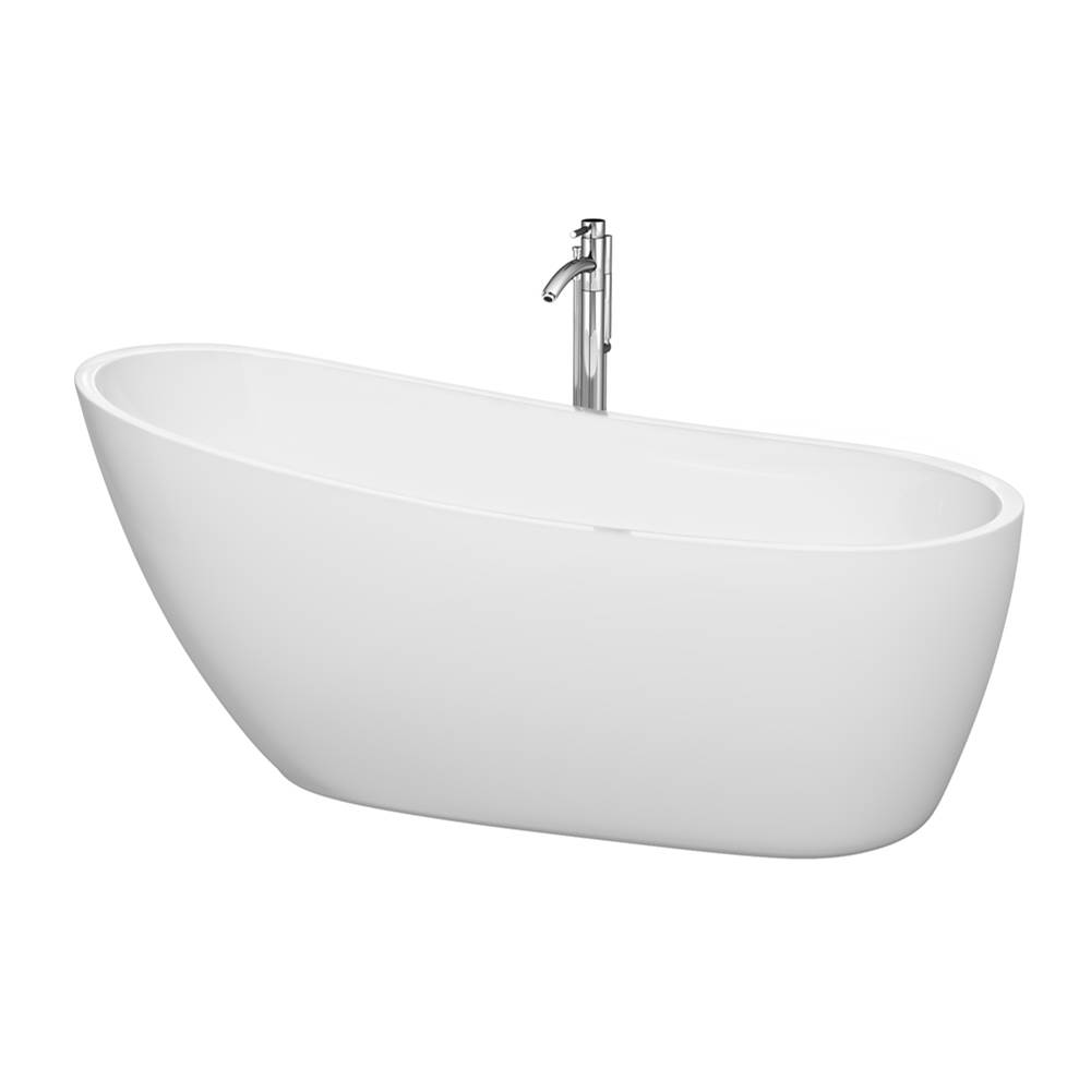 Wyndham Collection 68 inch Freestanding Bathtub in White with Floor Mounted Faucet, Drain and Overflow Trim in Polished Chrome