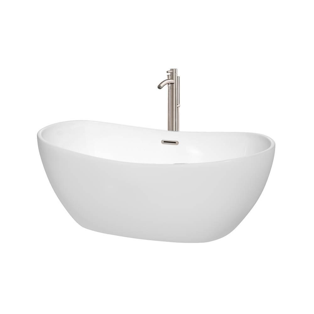 Wyndham Collection 60 inch Freestanding Bathtub in White with Floor Mounted Faucet, Drain and Overflow Trim in Brushed Nickel