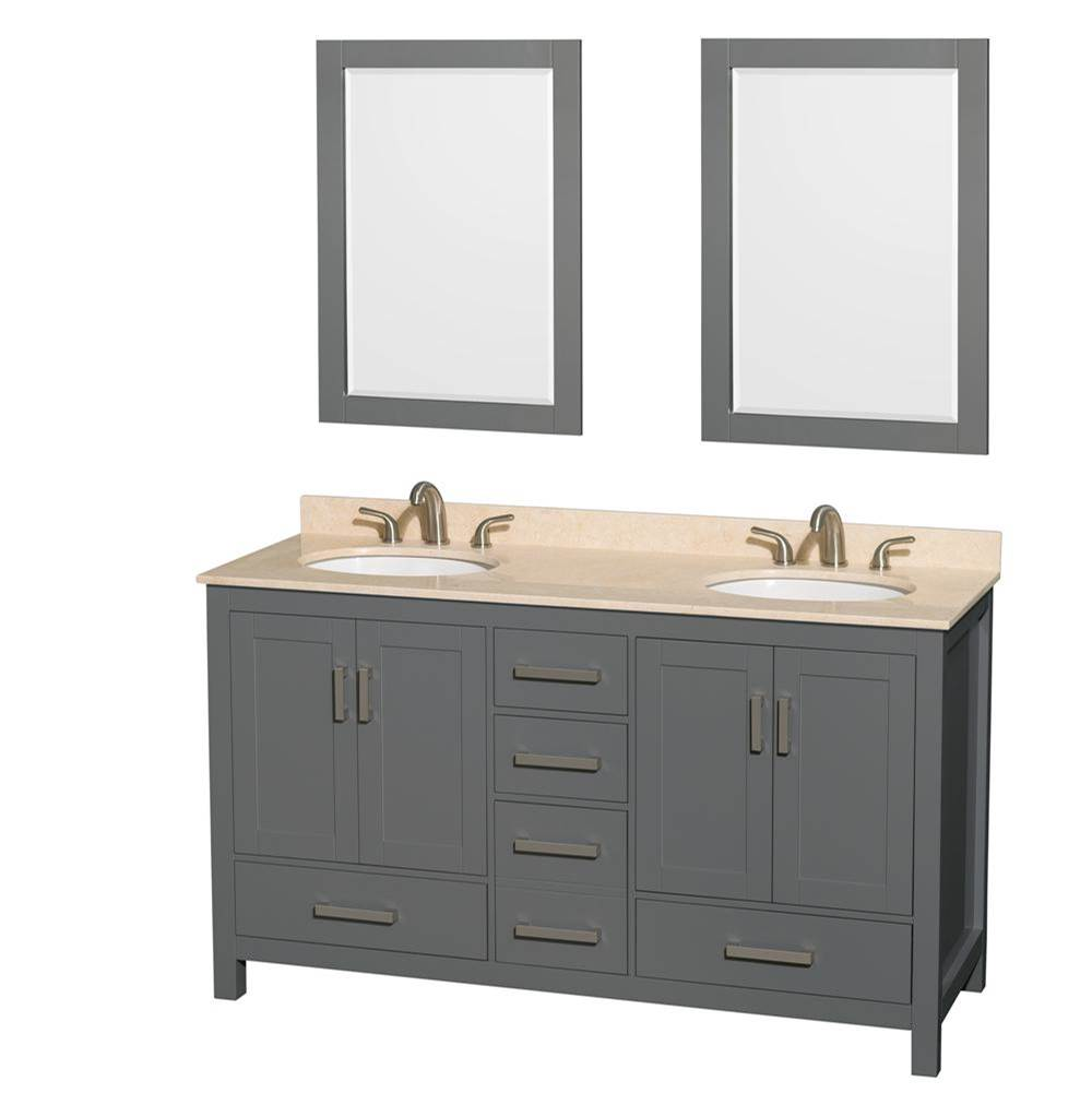 Wyndham Collection 60 inch Double Bathroom Vanity in Dark Gray, Ivory Marble Countertop, Undermount Oval Sinks, and 24 inch Mirrors