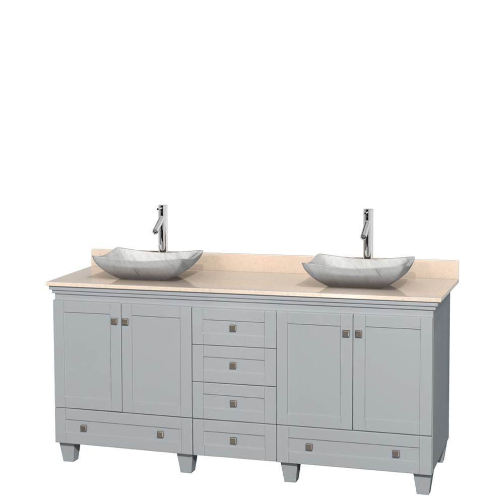 Wyndham Collection 72 inch Double Bathroom Vanity in Oyster Gray, Ivory Marble Countertop, Avalon White Carrara Marble Sinks, and No Mirrors